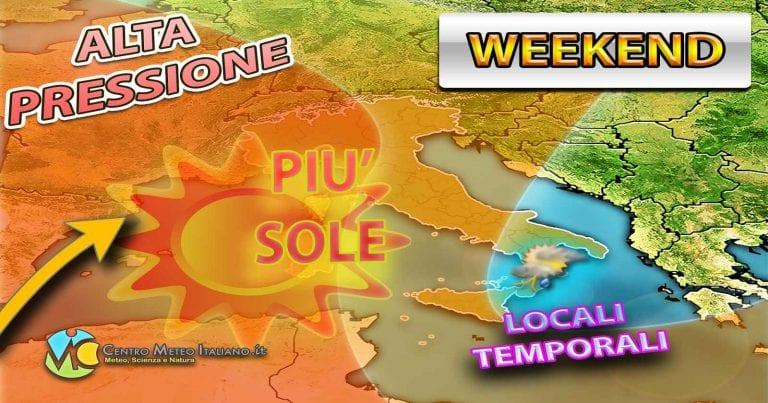 METEO WEEKEND – Una CIRCOLAZIONE DEPRESSIONARIA SPACCA l'ITALIA in due, i dettagli