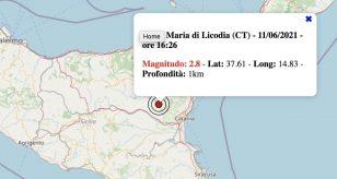Terremoto in Sicilia oggi, venerdì 11 giugno 2021: scossa M 2.8 in provincia di Catania | Dati INGV