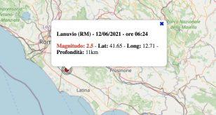 Terremoto nel Lazio oggi, domenica 13 giugno 2021: scossa M 2.5 a Lanuvio, in provincia di Roma