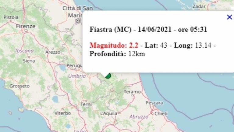 Terremoto nelle Marche oggi, 14 giugno 2021, scossa M 2.2 in provincia di Macerata – Dati Ingv