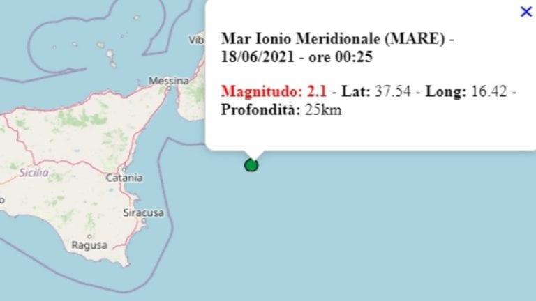 Terremoto in Italia oggi, venerdì 18 giugno 2021, scossa M 2.1 sul mar Ionio meridionale – Dati Ingv