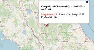 Terremoto in Umbria oggi, venerdì 18 giugno 2021: scossa M 2.5 in provincia di Perugia | Dati INGV