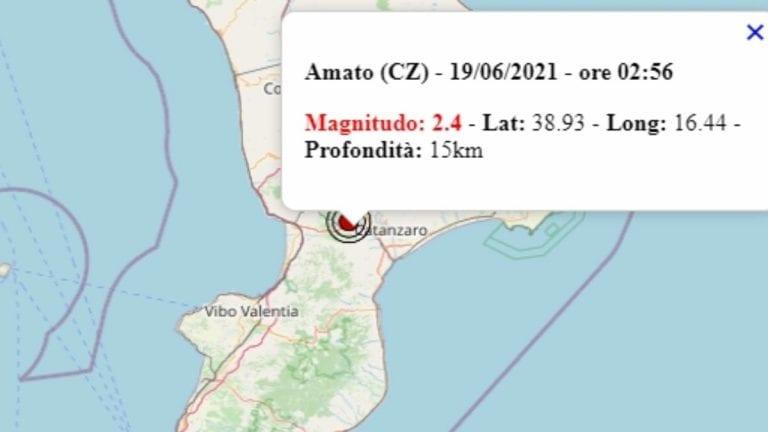 Terremoto in Calabria oggi, sabato 19 giugno 2021: scossa M 2.4 in provincia di Catanzaro – Dati INGV