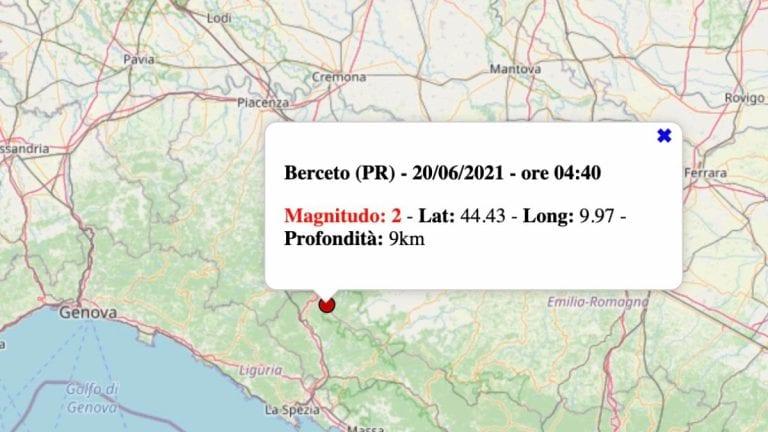 Terremoto in Emilia-Romagna oggi, domenica 20 giugno 2021: scossa M 2.0 in provincia di Parma   Dati INGV