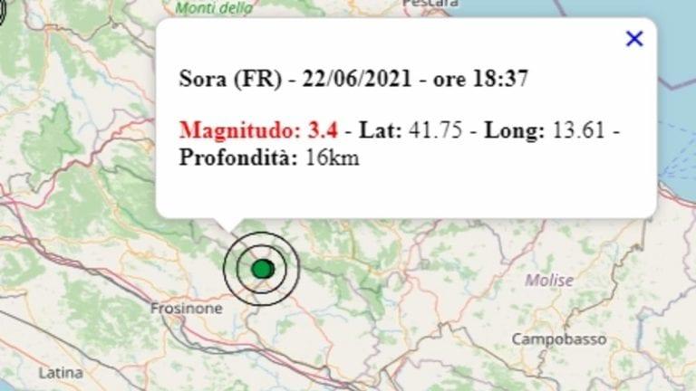 Terremoto nel Lazio oggi, 22 giugno 2021, scossa M 3.4 avvertita a Sora, in provincia di Frosinone | Dati Ingv