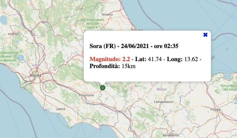 Terremoto nel Lazio oggi, giovedì 24 giugno 2021: scossa M 2.2 in provincia di Frosinone   Dati INGV