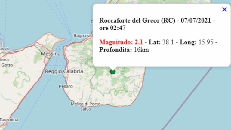 Terremoto in Calabria oggi, mercoledì 7 luglio 2021: scossa M 2.1 in provincia di Reggio Calabria   Dati Ingv