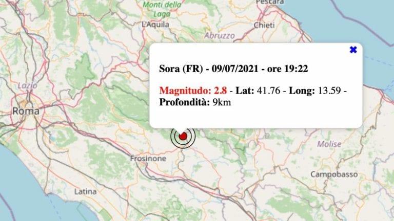 Terremoto nel Lazio oggi, venerdì 9 luglio 2021: scossa M 2.8 in provincia di Frosinone   Dati INGV