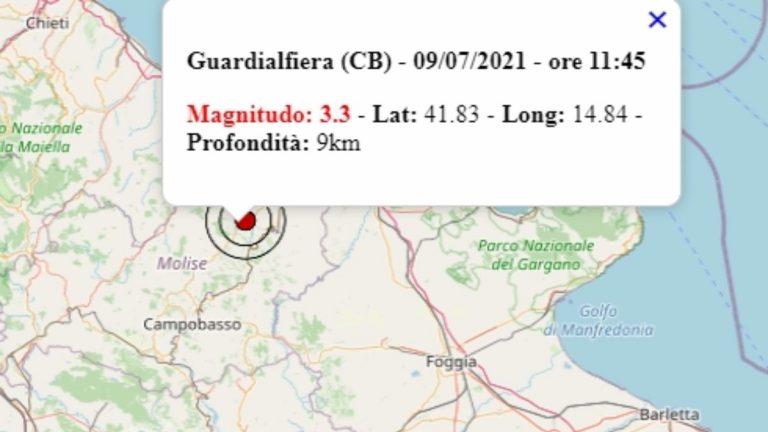 Terremoto in Molise oggi, 9 luglio 2021, scossa M 3.3 avvertita a Guardialfiera, in provincia di Campobasso – Dati Ingv