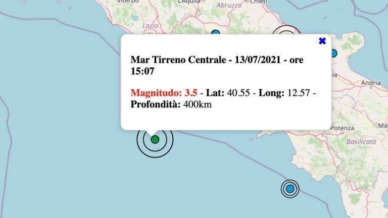 Terremoto in Italia oggi, martedì 13 luglio 2021: scossa M 3.5 sul Tirreno centrale – Dati INGV