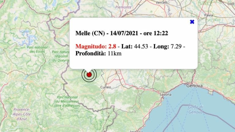 Terremoto in Piemonte oggi, mercoledì 14 luglio 2021: scossa M 2.8 in provincia di Cuneo | Dati INGV