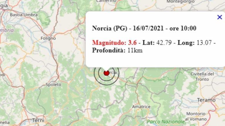 Terremoto in Umbria oggi, 16 luglio 2021: scossa M 3.3 a Norcia, in provincia di Perugia | Dati INGV