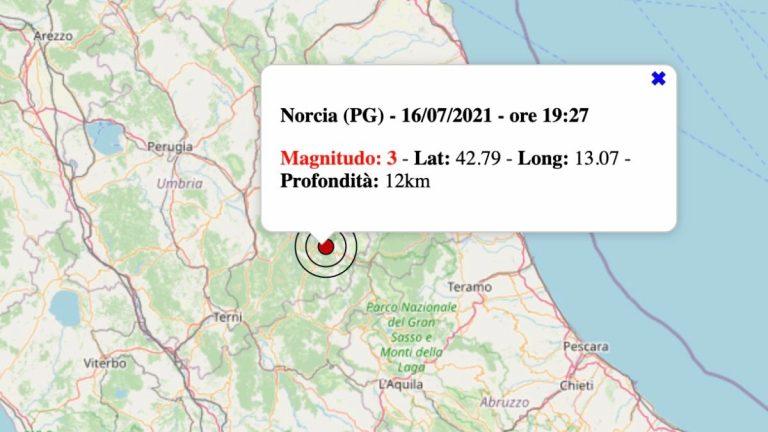 Terremoto oggi, venerdì 16 luglio 2021: scossa in Umbria M 3.0 in provincia di Perugia   Dati INGV