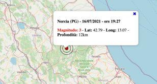 Terremoto in Umbria oggi, venerdì 16 luglio 2021: scossa M 3.0 in provincia di Perugia