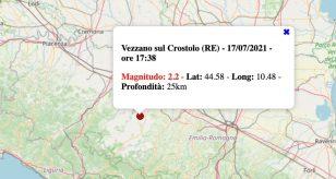 Terremoto in Emilia-Romagna oggi, sabato 17 luglio 2021: scossa M 2.2 in provincia di Reggio Emilia
