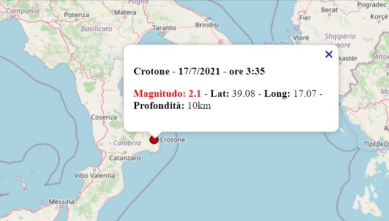 Terremoto oggi in Calabria, 17 luglio 2021: scossa M 2.1 a Crotone – Dati INGV