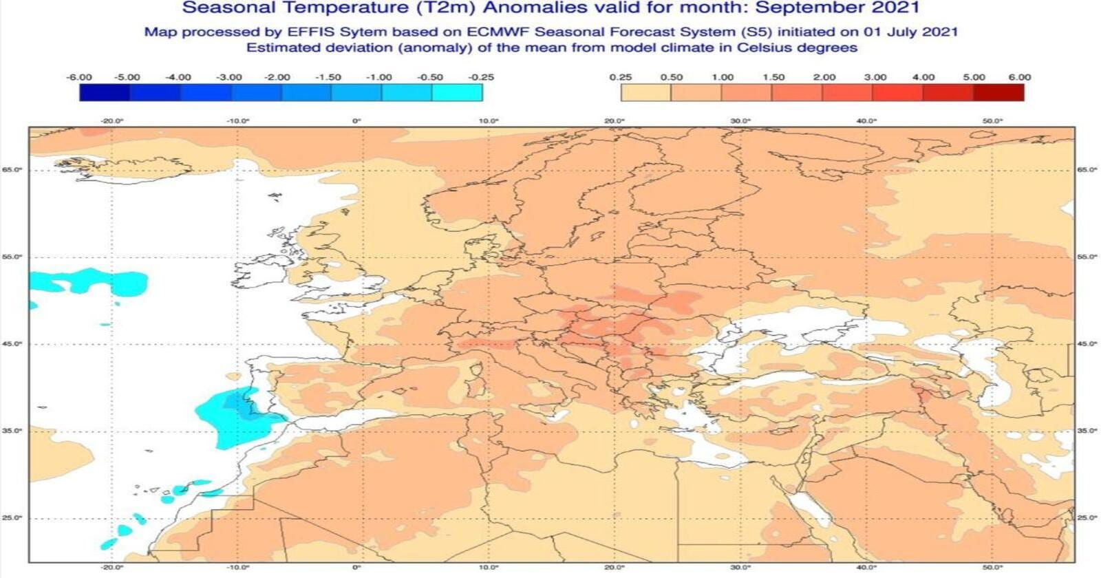 Anomalie di temperatura previste dal modello europeo per settembre 2021- effis.jrc.ec.europa.eu.eu