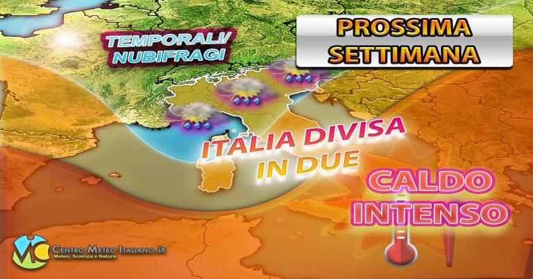 METEO – Prossima settimana ITALIA divisa in due. TEMPORALI e NUBIFRAGI al Nord, SOLE con CALDO AFRICANO al Sud