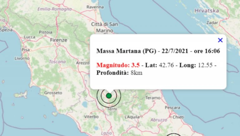 Terremoto oggi, giovedì 22 luglio 2021: scossa M 3.5 in Umbria. Scossa in provincia di Perugia – Dati INGV