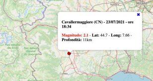 Terremoto in Piemonte oggi, sabato 24 luglio 2021: scossa M 2.1 a Cavallermaggiore, in provincia di Cuneo