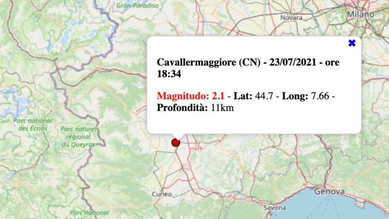 Terremoto in Piemonte oggi, sabato 24 luglio 2021: scossa M 2.1 in provincia di Cuneo | Dati INGV