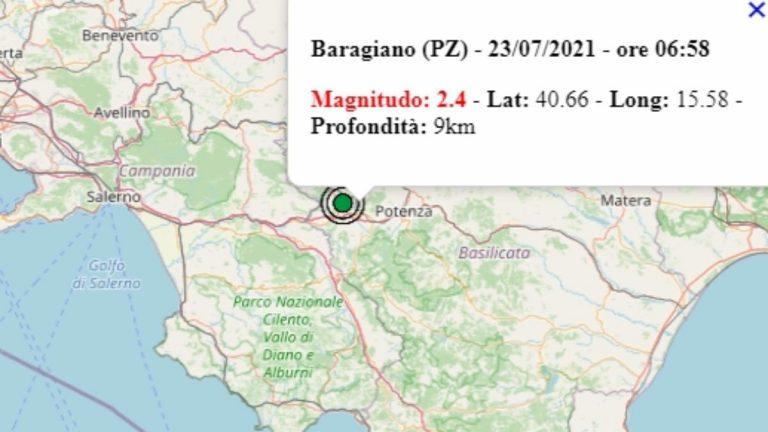 Terremoto in Basilicata oggi, 23 luglio 2021, scossa M 2.4 in provincia di Potenza   Dati Ingv
