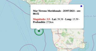 Terremoto in Italia oggi, sabato 24 luglio 2021: scossa M 3.9 Mar Tirreno Meridionale