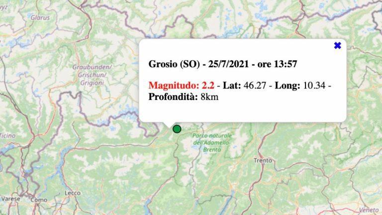 Terremoto in Lombardia oggi, domenica 25 luglio 2021: scossa M 2.2 in provincia di Sondrio | Dati INGV