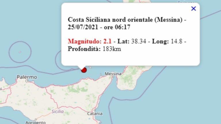 Terremoto in Sicilia oggi, domenica 25 luglio 2021: scossa M 2.1 in provincia di Messina – Dati Ingv