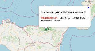 Terremoto in Sicilia oggi, mercoledì 28 luglio 2021: scossa M 2.4 in provincia di Messina