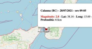 Terremoto Calabria oggi 28 luglio 2021