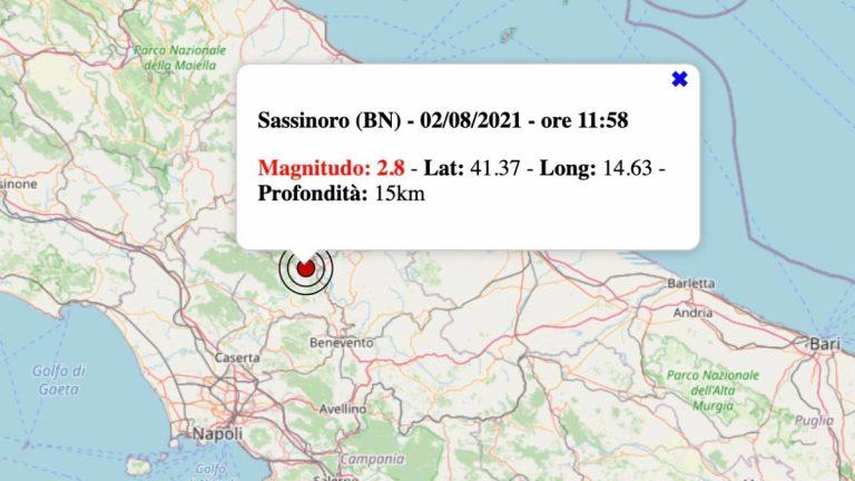Terremoto in Campania oggi, lunedì 2 agosto 2021: scossa M 2.8 in provincia di Benevento – Dati INGV