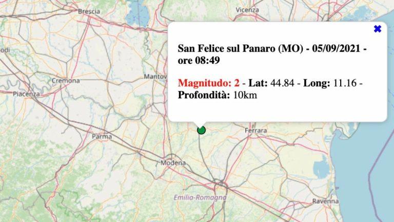 Terremoto in Emilia-Romagna oggi, domenica 5 settembre 2021: scossa M 2.0 in provincia Modena | Dati INGV
