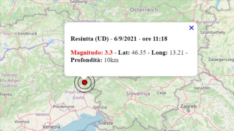 Terremoto oggi in Friuli Venezia Giulia, 6 settembre 2021: scossa M 3.3 in provincia Udine – Dati INGV