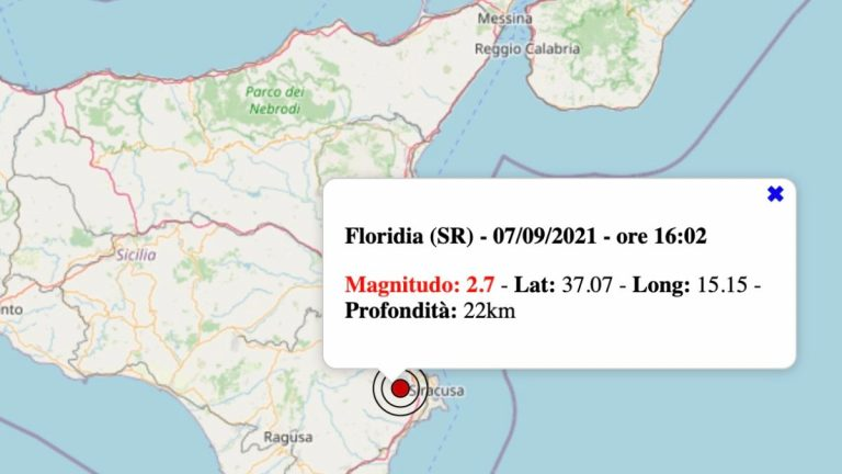 Terremoto in Sicilia oggi, martedì 7 settembre 2021: scossa M 2.7 in provincia di Siracusa | Dati INGV