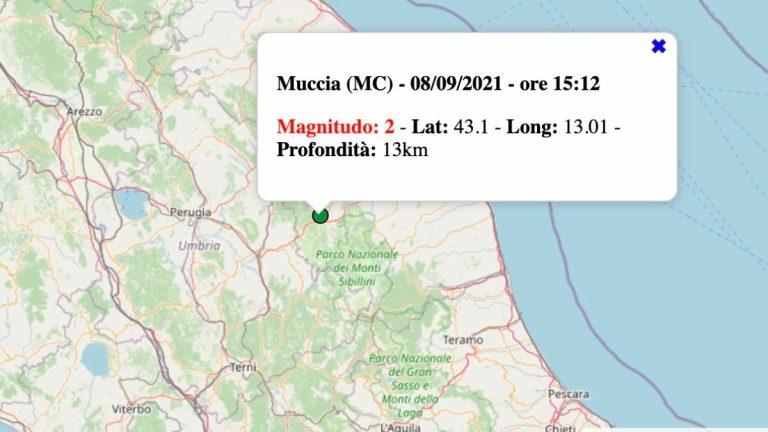 Terremoto nelle Marche oggi, mercoledì 8 settembre 2021: scossa M 2.3 in provincia di Macerata   Dati INGV