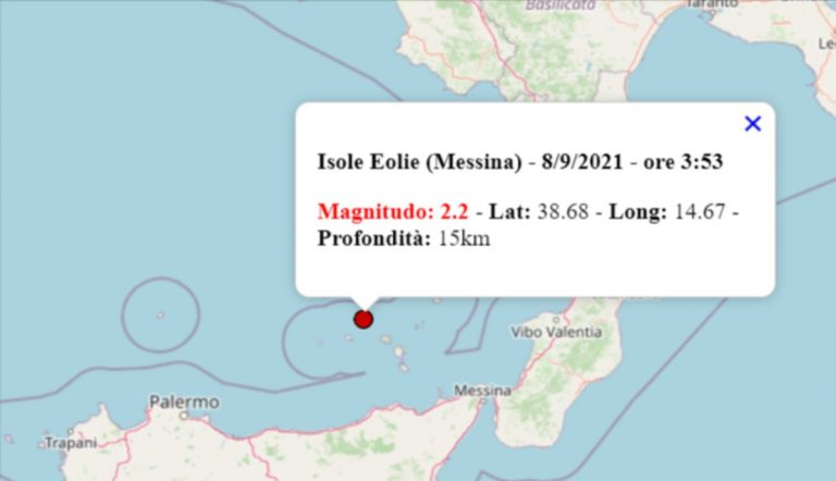 Terremoto oggi Sicilia, 8 settembre 2021: scossa M 2.2 alle Isole Eolie – Dati INGV