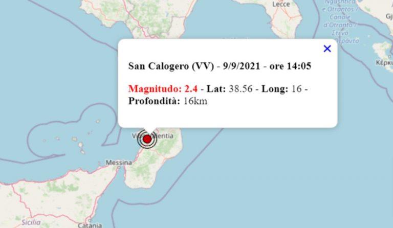 Terremoto oggi in Calabria, 9 settembre 2021: scossa M 2.4 in provincia Vibo Valentia – Dati INGV