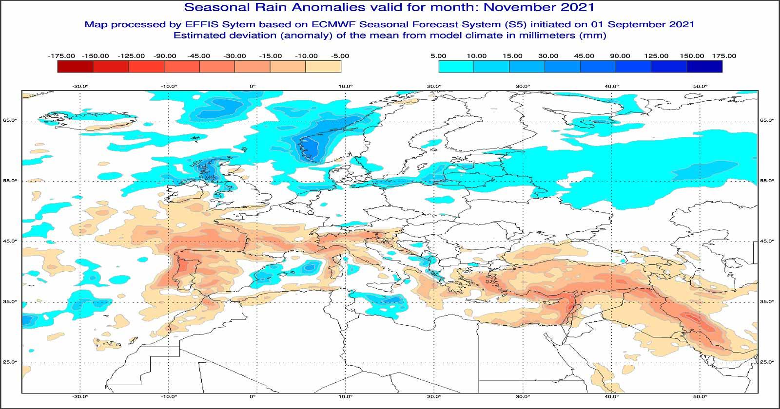 Anomalie di precipitazione previste dal modello ECMWF per novembre 2021 - effis.jrc.ec.europa.eu