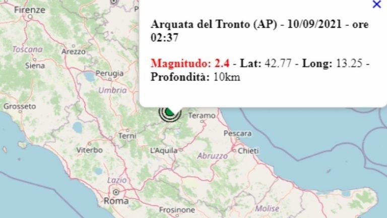 Terremoto nelle Marche oggi, 10 settembre 2021, scossa M 2.4 in provincia di Ascoli Piceno | Dati Ingv