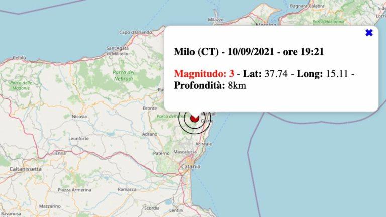 Terremoto in Sicilia oggi, venerdì 10 settembre 2021: scossa M 3.0 in provincia di Catania   Dati INGV