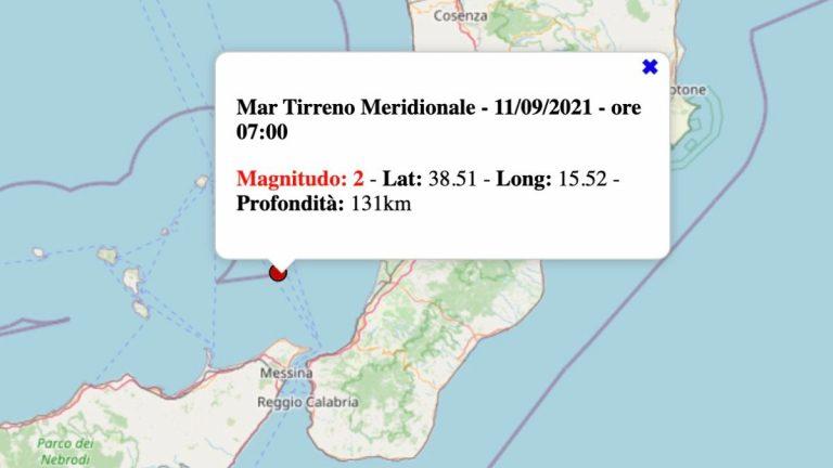 Terremoto in Sicilia oggi, 11 settembre 2021: scossa M 2.0 Mar Tirreno | Dati INGV