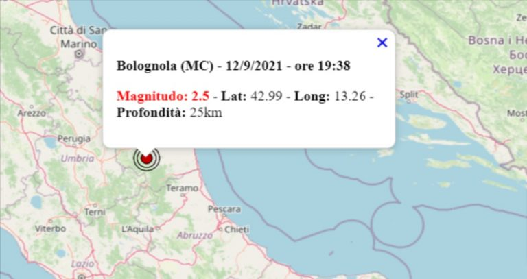 Terremoto oggi nelle Marche, 12 settembre 2021: in serata scossa M 2.5 in provincia di Macerata