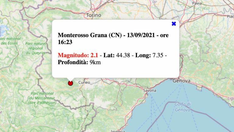 Terremoto in Piemonte oggi, lunedì 13 settembre 2021: scossa M 2.1 in provincia Cuneo | Dati INGV