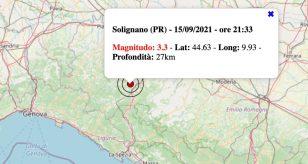 Terremoto in Emilia-Romagna oggi, mercoledì 15 settembre 2021: scossa M 3.3 in provincia di Parma
