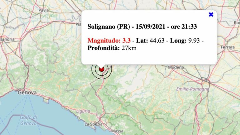 Terremoto in Emilia-Romagna oggi, mercoledì 15 settembre 2021: scossa M 3.3 in provincia di Parma | Dati INGV