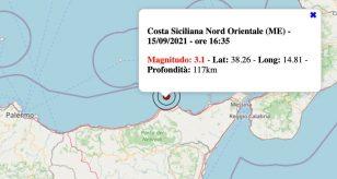 Terremoto in Sicilia oggi, mercoledì 15 settembre 2021: scossa M 3.1 Costa Siciliana