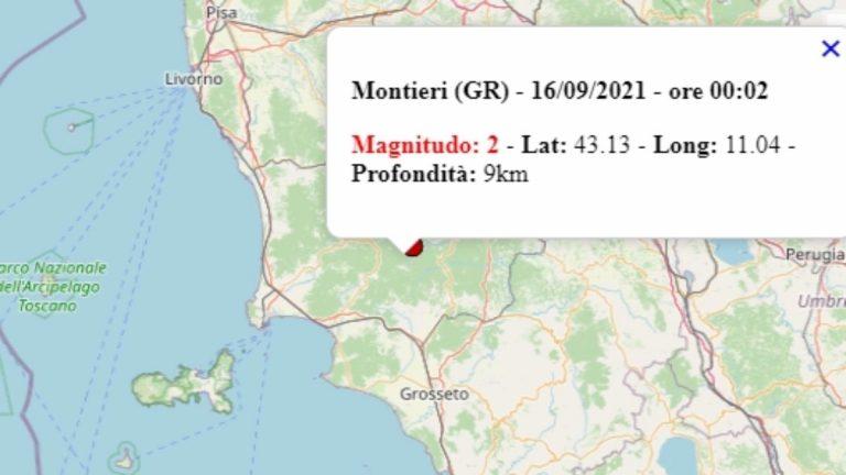Terremoto in Toscana oggi, giovedì 16 settembre 2021, scossa M 2.0 in provincia Grosseto – Dati Ingv
