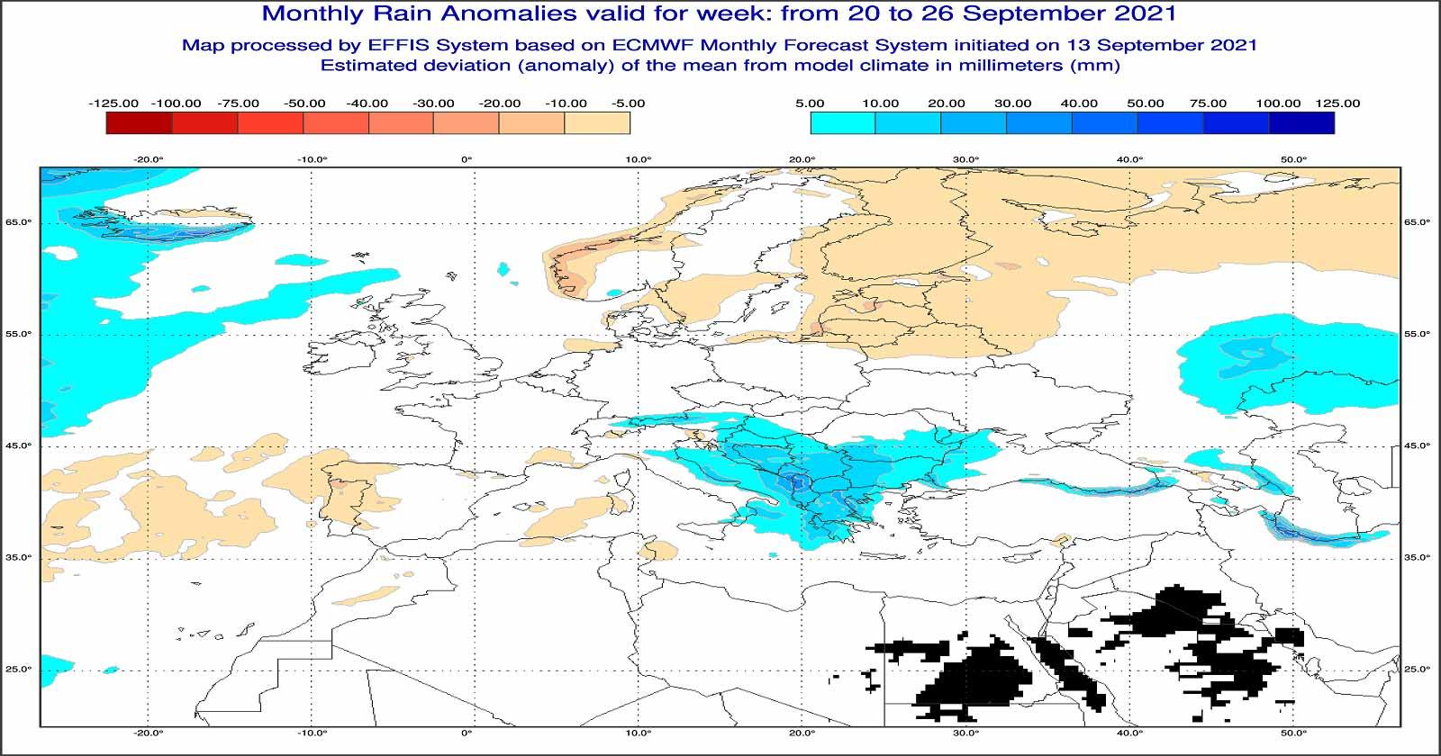 Anomalie di temperatura previste tra il 20 e il 26 di settembre - effis.jrc.ec.europa.eu