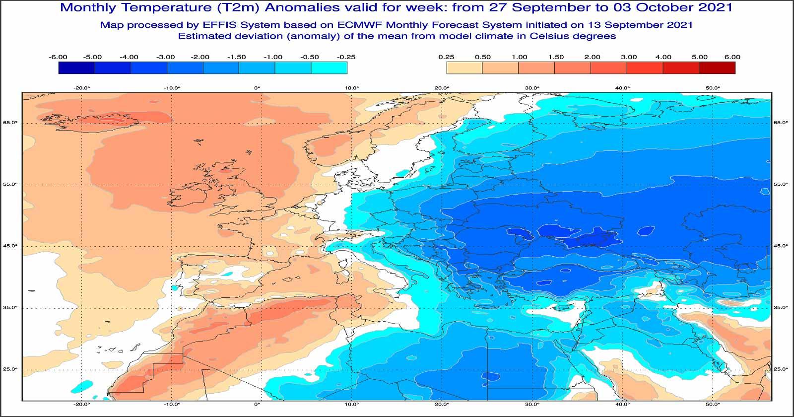 Anomalie di temperatura previste tra il 27 settembre e il 3 ottobre - effis.jrc.ec.europa.eu